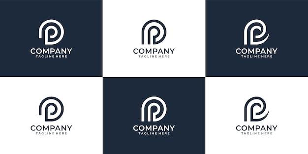 편지 p 창의적인 현대 로고 디자인의 세트