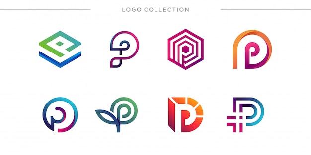 Pの文字ロゴデザインコレクションのセット、モダン、グラデーション、抽象、手紙