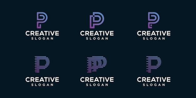 文字pロゴデザインのセットです。プレミアムベクトル