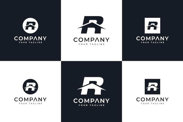 모든 용도를 위한 편지 r 홈 로고 창의적인 디자인 세트