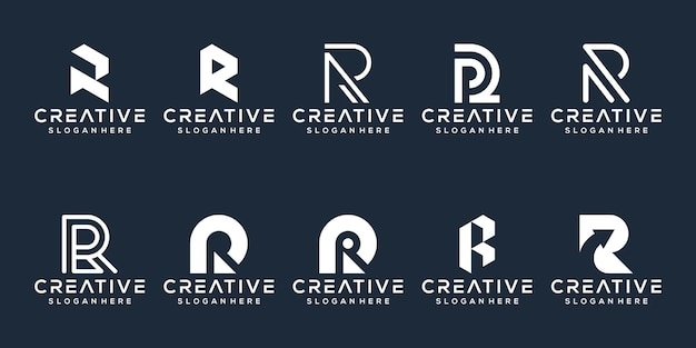 文字rロゴデザインのセット