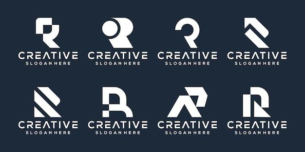편지 r 로고 디자인 세트