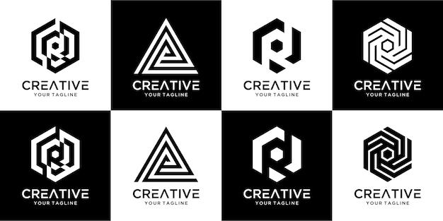 편지 r 로고 디자인의 세트