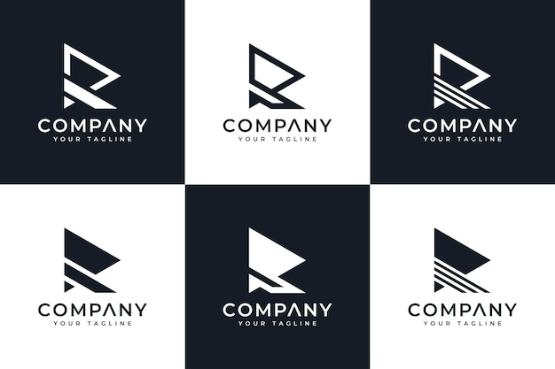 Набор креативного дизайна логотипа letter r play для всех целей