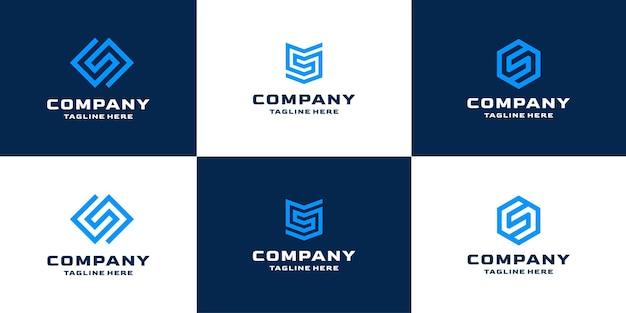 文字sの幾何学的な抽象的なロゴデザインテンプレートcollectioのセット