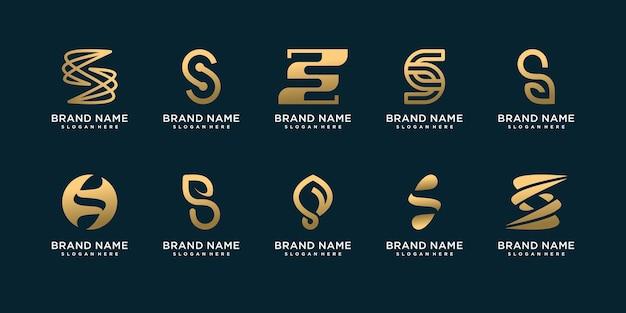 독창적인 독특한 개념을 가진 문자 s 로고 컬렉션 세트 premium vector