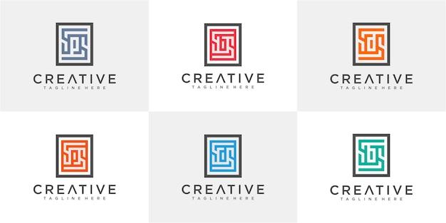 Набор букв sd, sb, sp в шаблоне дизайна логотипа прямоугольника