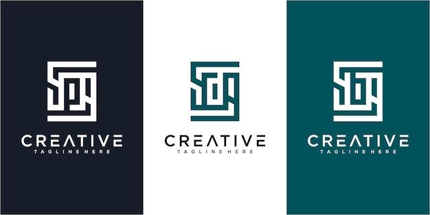 手紙sp.sd、sbロゴデザインテンプレートのセット。 spロゴ、sdロゴ、sbロゴデザイン