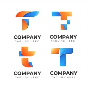 회사에 대 한 화려한 개념 편지 T 로고 컬렉션 집합 프리미엄 벡터