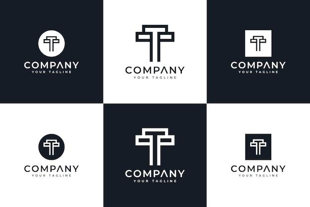 Набор букв t логотип креативный дизайн для всех целей