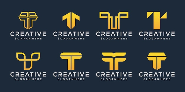 Набор буква t дизайн логотипа