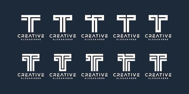 Набор букв t дизайн логотипа
