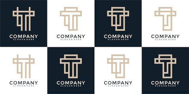 Набор буква t вензель логотип дизайн шаблона