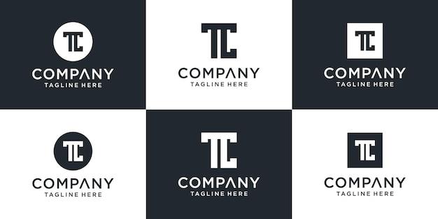 クリーンで大胆でユニークなスタイルの文字tcロゴコレクションのセット