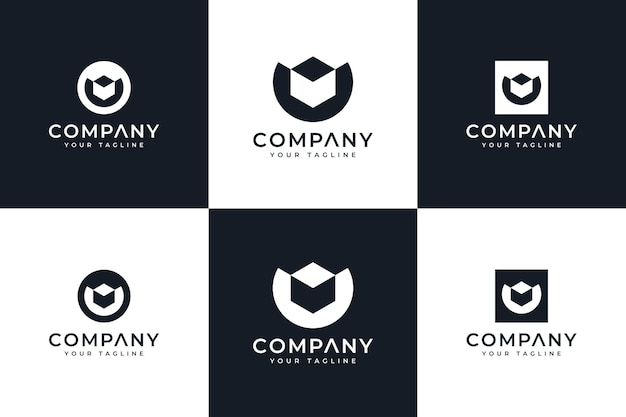 Набор креативного дизайна логотипа letter u box для всех целей