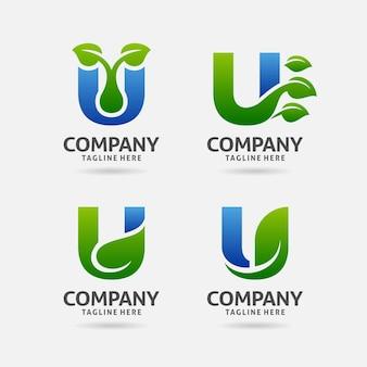 편지 u 잎 로고 디자인의 세트