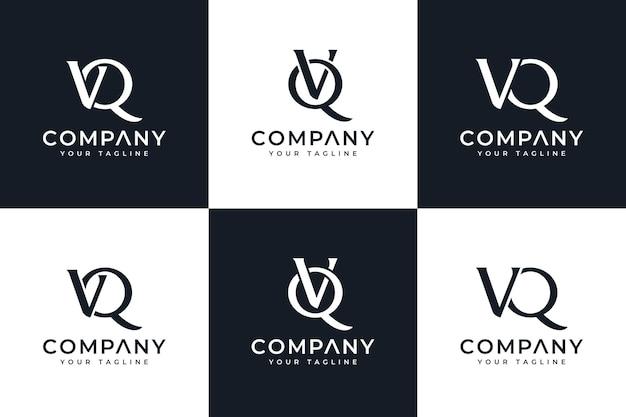 모든 용도로 사용할 수 있는 문자 vq 로고 창의적인 디자인 세트