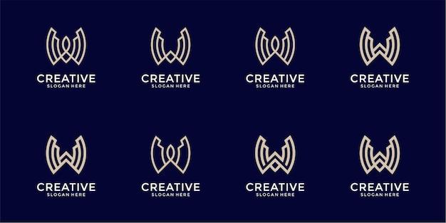 文字wロゴデザインのインスピレーションのセット