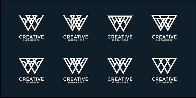 文字wモノグラムロゴデザインテンプレートのセット