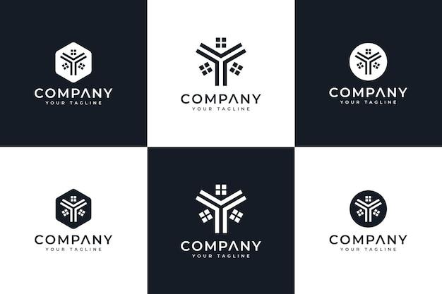 모든 용도를 위한 문자 y 및 홈 로고 창의적인 디자인 세트