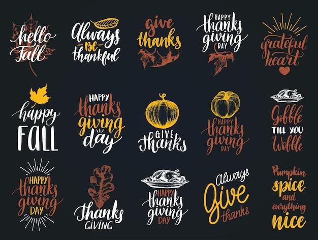 추수 감사절을위한 글자와 삽화 세트, 필기