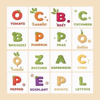野菜アイテムのレタリングのセット