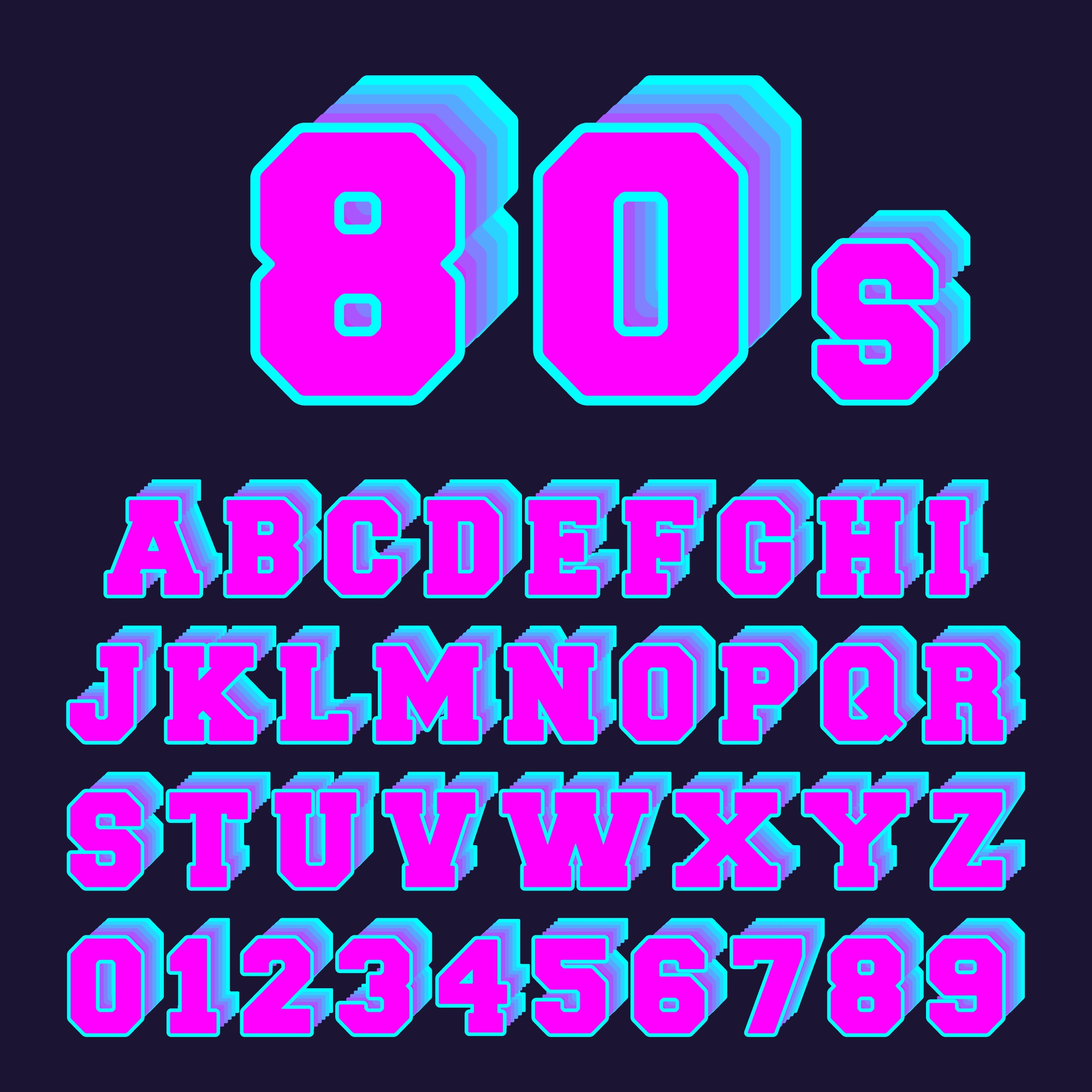 Set of letters and numbers old video game 80s style