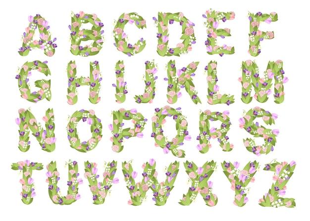 花と葉のイラストと文字漫画花フォントデザインのセット