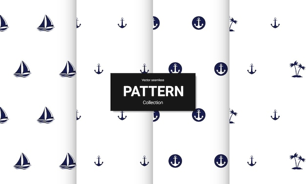 水色のシームレスなパターンのセットです。航海