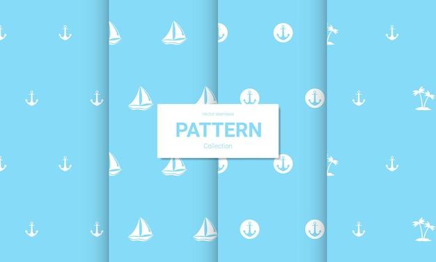 Набор светло-синих бесшовных узоров. вектор бесшовные морские текстуры.