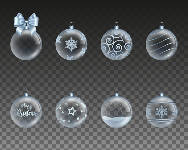 Набор голубых прозрачных новогодних шаров