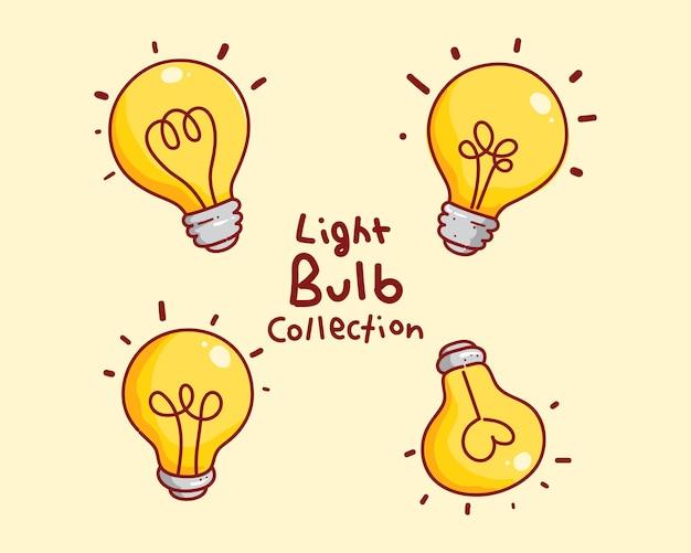 電球アイデアロゴ手描き漫画アートイラストのセット