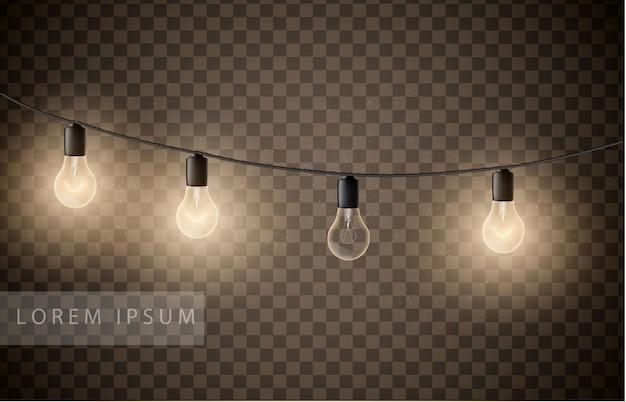 透明な背景に電球の花輪のセット。