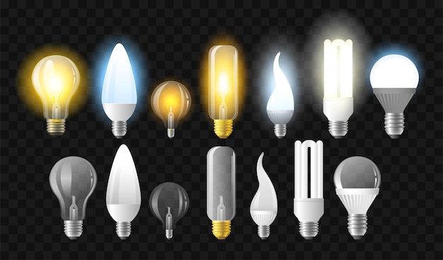Набор лампочек - реалистичные векторные изолированные картинки на прозрачном фоне. светящиеся и выключенные предметы разной формы и формы, светодиодные лампы и лампы накаливания.