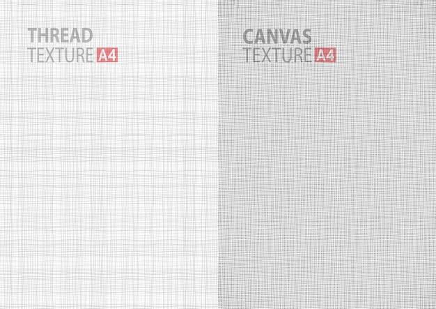 A4用紙サイズの背景、スレッドグレーパターンの背景垂直紙フォーマットのライトグレーホワイトラインファブリックスレッドキャンバス黄麻布テクスチャのセット。