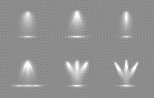 빛의 집합입니다. 광원, 스튜디오 조명, 벽. 광선, 조명 효과.