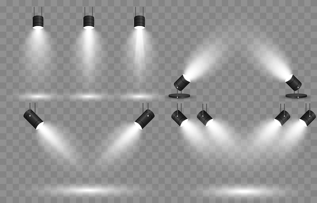빛의 집합입니다. 광원, 스튜디오 조명, 벽. 스포트라이트 조명, 스포트라이트 광선, 조명 효과.