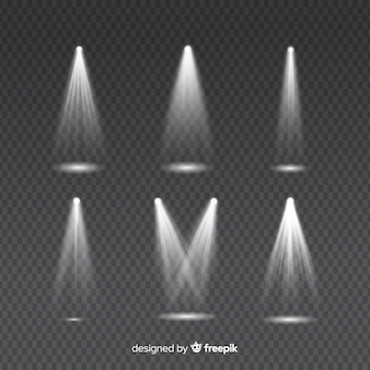 Набор световых лучей для белого освещения на прозрачном