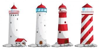 白い背景の上の灯台のセット