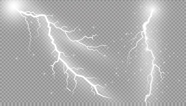 雷のセット魔法と明るい照明効果。