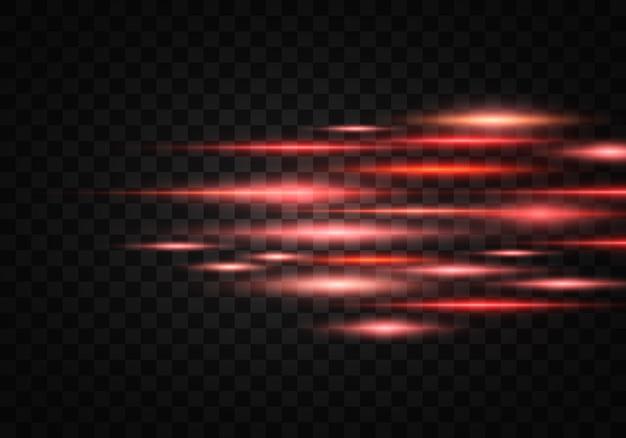 ライトのまぶしさのセット。水平レンズフレアパック。レーザー光線、水平光線、線。