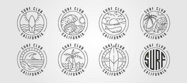 라인 아트 캘리포니아 서핑 클럽 아이콘 로고 벡터 일러스트 디자인, 바다 풍경 최소한의 로고 디자인 세트