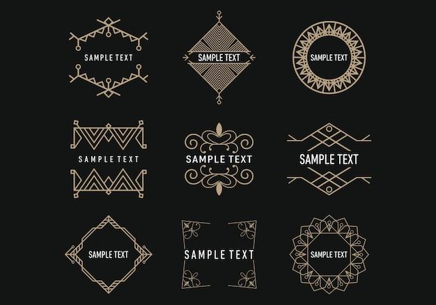 幾何学的なラインアートの装飾のセット