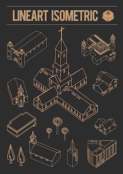 Набор линий искусства европы изометрические здания