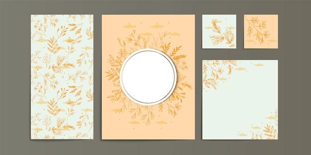 ラインアート花のウェディングカードの招待状のテンプレートのセット