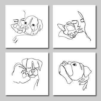 Набор штриховых иллюстраций милых собак и человеческого лица