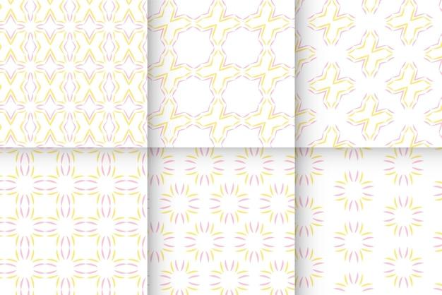 黄色とピンク色の線画パターンのセット