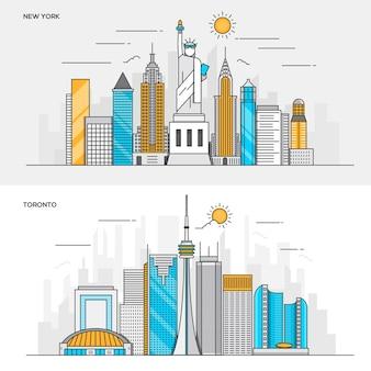 Набор цветных баннеров для города нью-йорк и торонто. концепции веб-баннеров и печатных материалов. иллюстрация