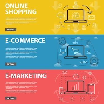 온라인 쇼핑, 전자 상거래 및 전자 마케팅을 위한 라인 디자인 최신 웹 배너 세트. 개요 스타일 벡터 개념은 웹 디자인, 배너 디자인 및 그래픽 디자인에 사용할 수 있습니다.