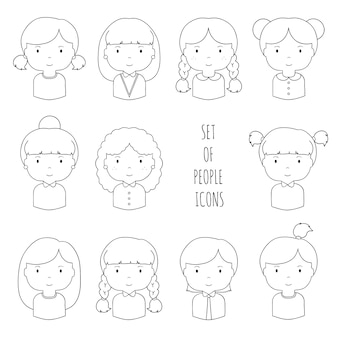 Набор значков женских лиц линии